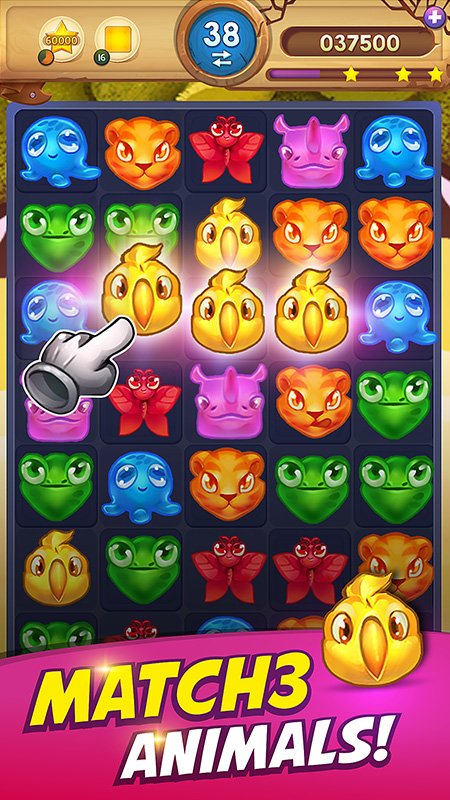 Animal Drop Safari - a match-3 game