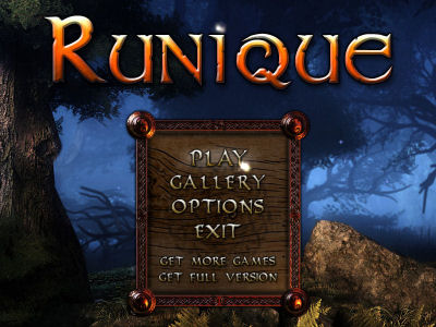 Runique title screen